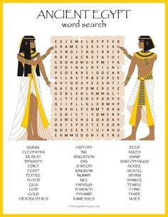 Ancient Egypt Word Search Puzzle:  A word search puzzle featuring ancient Egypt vocabulary words.  Students will reinforce their knowledge and review spelling while having fun doing a puzzle. The words are hidden in all directions including diagonally and backwards and many of them are overlapping.