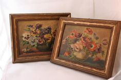 Raised Floral Lithograph Prints Mid Century Framed Textured Still Life Pair Poppy Pansy