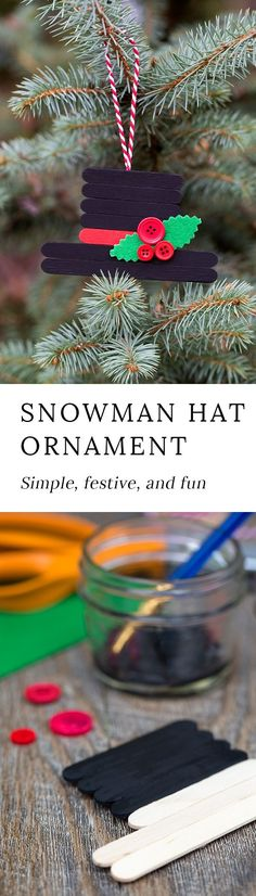 'Tis the season for fun, festive Christmas ornaments! This creative Snowman Hat Ornament is a cute Christmas craft for crafters of all ages. #ornaments #Christmas #craftstickcrafts via HTTP://www.pinterest.com/fireflymudpie/
