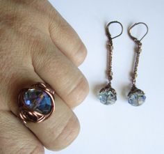 'Purple Crystal  Copper Ring & Earring Set' is going up for auction at  6am Mon, Jun 18 with a starting bid of $14.
