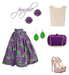 """purple purple! !!"" by marifimarina ❤ liked on Polyvore featuring Yves Saint Laurent, Alice + Olivia, Casadei and Gucci"