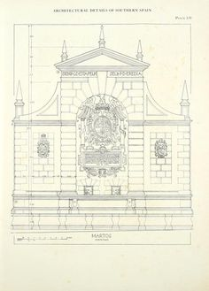 Architectural drawing of the Martos Fountain, Southern Spain built in the 16th century - Pilar de la Fuente Nueva (Martos) conserved by Diadrasis with ICCROM support. C16th fountain designed by Francisco del Castillo (student of Giacomo Barozzi da #Vignola).