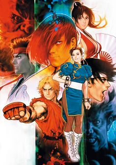 """From Street Fighter, King of Fighters, SNK Vs. Capcom, Resident Evil to Marvel Vs. The most comprehensive look at the outstanding career of master artist Toshiaki """"Shinkiro"""" Mori. Capcom Vs Snk, Cosplay Games, Game Poster, Street Fighter Tekken, Snk King Of Fighters, Art Of Fighting, Fighting Games, Arte Peculiar, Street Fighter Characters"""
