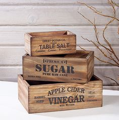 Vintage Style Wood Pantry Crates
