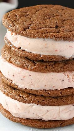 Roasted Strawberry Ice Cream Sandwiches