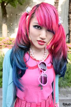 Lisa 13 in Harajuku w/ Dip Dye Hair, Cute Pink Fashion & Vivienne Westwood