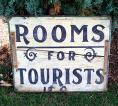 Rooms for Tourists Sign 2-Sided Hand Painted Wood Vintage Wisconsin #Shabby White #b&b