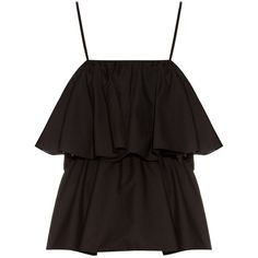 Raey Tiered cotton-blend cami top (£150) ❤ liked on Polyvore featuring tops, black, tiered tank top, loose tank tops, loose fit tank top, tiered ruffle top and loose tops