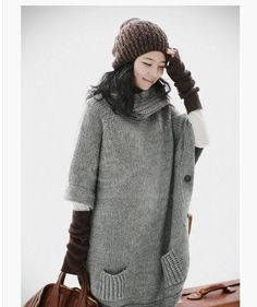 I joined @Sammydress fall wardrobe # contest!  love this!!!  Korean Fashion Side Buttons Turtle Neck Half Sleeves Oversized Sweater For Women (GRAY,ONE SIZE) China Wholesale - Sammydress.com