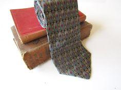 Men's Vintage Neck Tie 100% Silk Retro by CountingTeacups on Etsy