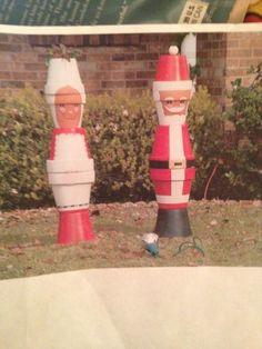 Clay Pot People | Clay pot Santa & Mrs. Claus. 5 feet tall | Clay Pot People