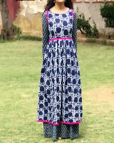 Indigo double layered dress by The Home Affair | The Secret Label