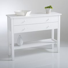 Perrine Solid Pine Console LA REDOUTE INTERIEURS The Perrine is a very practical solid pine console table for the hallway, bedroom or anywhere else in the home! 2 large drawers for storing clothes or. Solid Pine, Solid Oak, Console Vintage, Farmhouse Stools, Petite Console, Grey Hallway, White Console Table, Narrow Table, Lineup