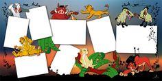 Plantilla Child 29x58 para la Creación de Foto Libros - Imagen Fondo atardecer El rey león, decorada con los personajes de la película (Mufasa, Simba, Nala, Timón, Pumba, Sarabi, Rafiki y las Hiena Shenzi y Banzai) y motivos vegetales. Dispone de 7 casillas para insertar fotografías con marco blanco.