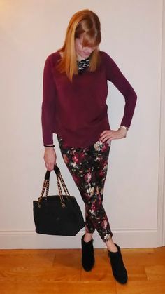Statement Floral trousers and Clarks ankle boots
