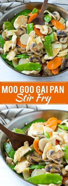 This recipe for moo goo gai pan is a classic dish of chicken and vegetables stir fried with a savory sauce. Plus secret tips on how to make your stir fries taste like they came from a restaurant! chicken recipes for dinner Chinese Chicken Recipes, Easy Chinese Recipes, Healthy Chicken Recipes, Vegetarian Recipes, Recipe Chicken, Healthy Chinese Food, Chinese Food Dishes, Empress Chicken Recipe, Chicken Stirfry Recipes