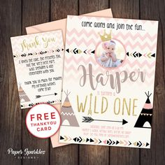 Wild one invitation First birthday by PaperSparkleDesigns on Etsy