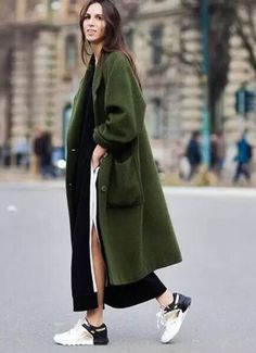 Army green trench fall look