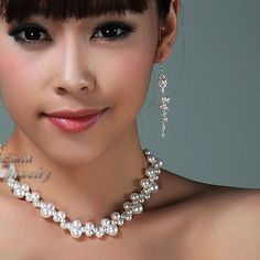 Pearl Bridal Jewelry Set, S1016, Beaded White Swarovski Pearl Bridal Set, Bridal Necklace Earrings, Wedding Jewelry Sets