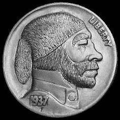 DAVE BOULAY HOBO NICKEL - FURSKIN CAP* - 1937 BUFFALO PROFILE Hobo Nickel, Buffalo, Classic Style, Coins, Carving, Profile, Cap, User Profile, Baseball Hat