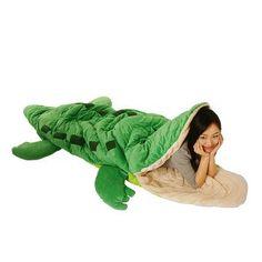 HA! Adorable alligator sleeping bag.