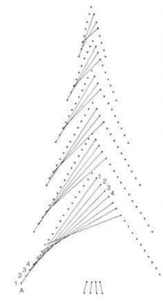 Christmas Tree - lace, needlework, lace drawings, lessons and advice - Scheme II: String Art Diy, String Crafts, String Art Templates, String Art Patterns, Diy Christmas Cards, Christmas Art, Green Christmas, Xmas, Arte Linear