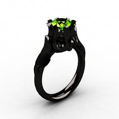 Natures Nouveau 14K Black Gold Peridot Wedding Ring, Engagement Ring  #halloween #jewelry #rings www.loveitsomuch.com