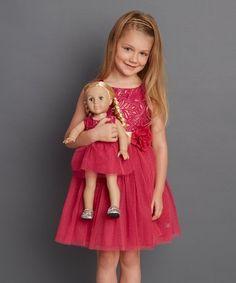 377e538e3c2e Dollie   Me Fuchsia   Gold Floral Sleeveless Dress   Doll Dress - Girls