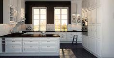 Hvitt kjøkken, sort benkeplate Kitchen Dining, Kitchen Cabinets, Bodbyn, Beautiful Kitchens, Double Vanity, Sweet Home, Traditional, Bathroom, Google