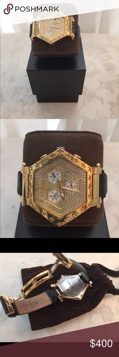 Techno Swiss Real Diamond Gold Plated Watch unisex Authentic Techno Swiss watch, real diamonds details, gold plated, Swiss movement , water resistant, (50 meters) genuine leather, stainless steel, chronograph, calendar, Very good condition. Measurement :81/2 approx Techno Swiss Accessories Watches