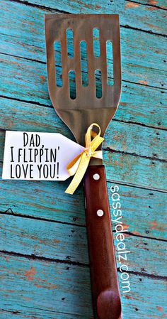 "Funny Spatula Father's Day Gift Idea ""Dad I flippin' love you!"""
