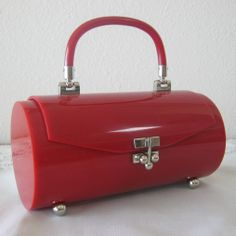 Fantastic French Rare Red Lucite Purse