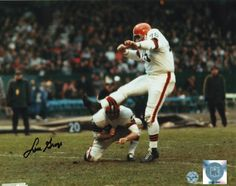Autographed Lou Groza Cleveland Browns Color Kick 8x10