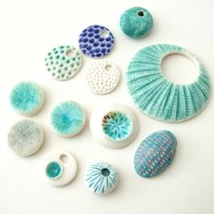 random.... by c-urchin, via Flickr | art craft + shells + blue turquoise aqua ivory white + beads