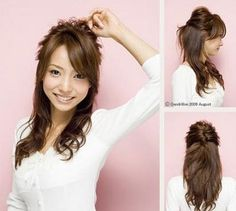very nice hairstyle for office girls!  Layer your hair when you go to the salon and get an Ash Brown kinda hair colour.  Loosely curl the very ends of your hair.  Rub in some wax on to the crown of your head..Back comb them until they float prettily with volume on top of your head.  Gather the first quarter of your hair, DO NOT press the voluminous top down!! twist it into a semi-french bun and clip!  Apply some wax to your curls so that they stay intact through out your day