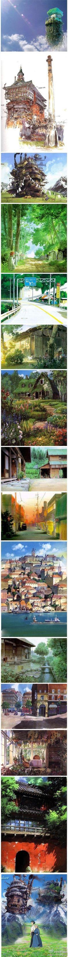 Los escenarios de Hayao Miyazaki...
