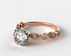 49361 engagement rings, side stones, 14k rose gold round and marquise shape diamond engagement ring item - Mobile