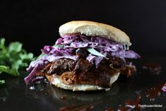Pulled Pork Sandwich with Purple Slaw and Cilantro…