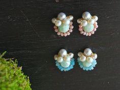 Stud earrings - pearl cluster earrings - Pink opal gem cluster earrings
