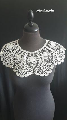 Neck Accessories, Crochet Accessories, Crochet Collar Pattern, Crochet Patterns, Collar Rosa, Ivoire, Scarf Wrap, Etsy, Crochet Top