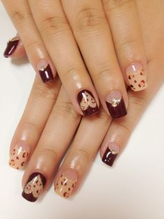 Burgundy and leopard. but i don't like how low they did her arches. i would get mine a little higher up.