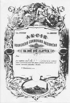 / Muzeum cennych papiru / Rolnický cukrovar akciový v Brodku akcie na jméno (Namensaktie) 200 Zl. Stocks And Bonds, America, Personalized Items, Art