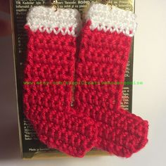 Crochet Christmas Stocking Earrings