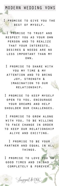 wedding Modern Wedding Vows You'll Want To Steal! – Wedding ideas wedding Modern Wedding Vows You'll Want To Steal! wedding Modern Wedding Vows You'll Want To Steal! Modern Wedding Vows, Wedding Quotes, Wedding Goals, Wedding Wishes, Wedding Tips, Trendy Wedding, Perfect Wedding, Our Wedding, Dream Wedding