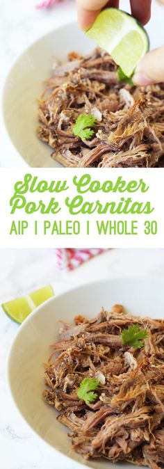 Slow Cooker Carnitas (AIP, Paleo & Whole I was never really a big Mexican or Tex Mex food fan growing up. I grew up in an Italian family with Jewish roots in New York, so bagels and lox were my tacos, and marinara sauce (or if you're really legit, grav Paleo Whole 30, Whole 30 Recipes, Whole 30 Crockpot Recipes, Crockpot Meat, Bagels, Tex Mex Essen, Autoimmun Paleo, Sauce Marinara, Slow Cooker Carnitas