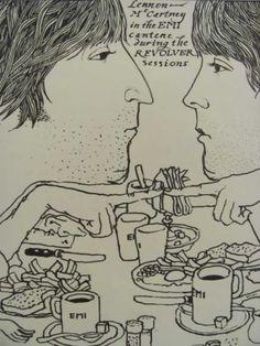 Lennon & McCartney by Klaus Voorman illustration, 1966