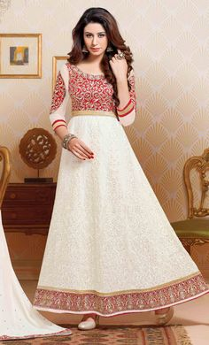 USD 54.65 White Net Long Anarkali Suit 44456