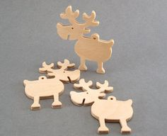 Wooden Reindeer Christmas Ornament / set of 12 / Wooden reindeer shapes  for decorating / Unpainted wooden forms for DIY
