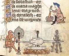 Medieval manuscript: cooking, spit-roast