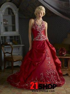 Red Wedding Dress Lique Halter Dresses 2017
